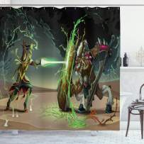 """Ambesonne Anime Shower Curtain, Animal Comics Superheros with Dangerous Wildlife Powers Goat with Rays Design Print, Cloth Fabric Bathroom Decor Set with Hooks, 75"""" Long, Green Taupe"""