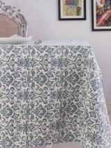 Table Cloth, 100% Cotton, Rectangular Table Cloth of Size 60X84 Inch, Eco - Friendly & Safe, Blue Ornaments Design for Kitchen