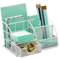 Sorbus Desk Organizer, All-in-One Stylish Mesh Desktop Caddy Includes Pen/Pencil Holder, Mail Organizer, and Sliding Drawer, Great for Home or Office (All-in-One Caddy - White)