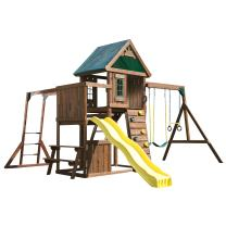 Swing-N-Slide Chesapeake Wood Complete Play Set with Two Swings, Monkey Bars, Slide, Climbing Wall and Picnic Table