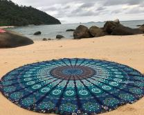 Raajsee Blue Round Beach Tapestry Hippie/Boho Mandala Beach Blanket Roundie/Indian Cotton Throw Bohemian Round Table Cloth/Yoga Mat Meditation Picnic Rugs 70 inch Circle