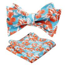 Alizeal Men's Adjustable Length Self Tied Bow Ties with Pocket Square Set