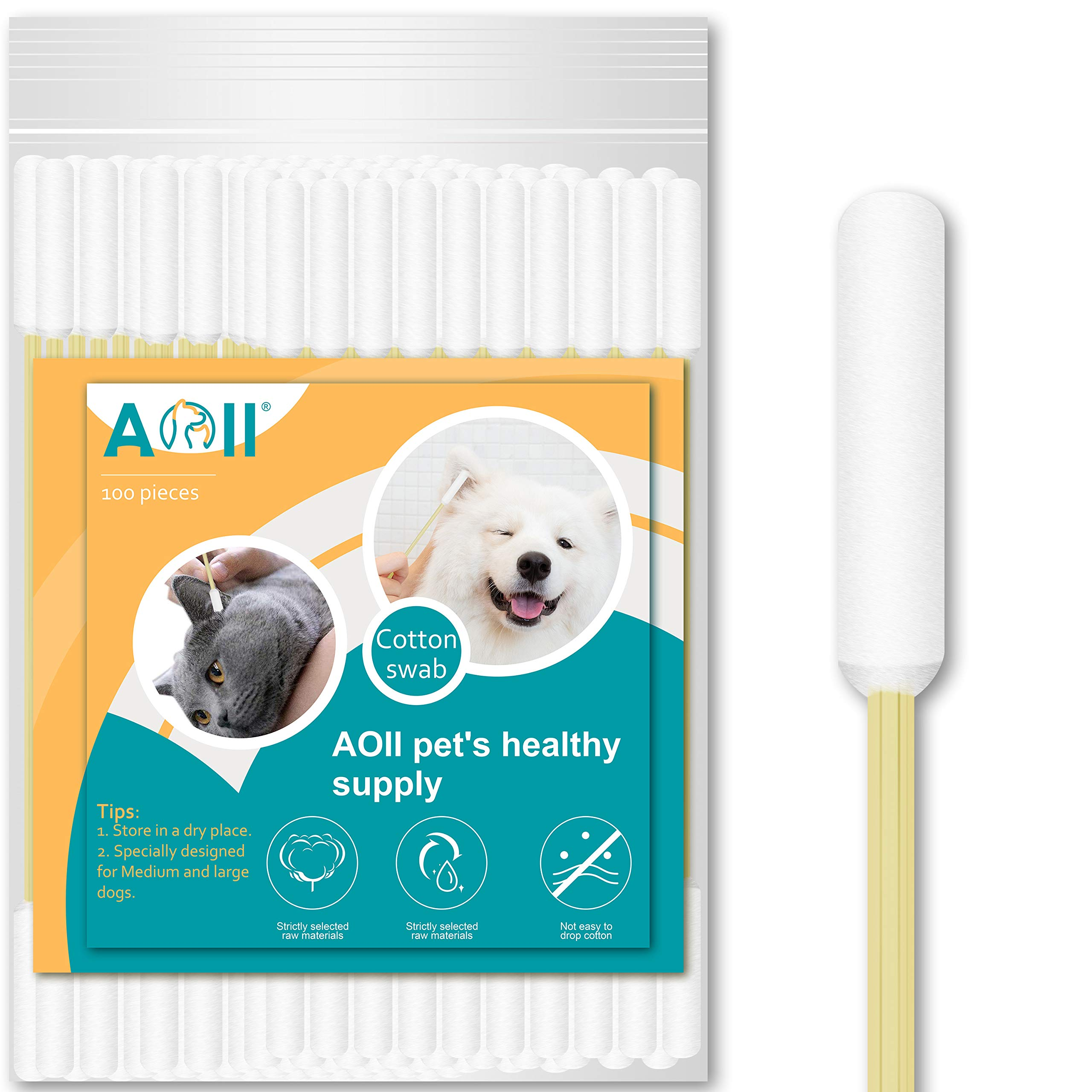 AOII Cotton Buds for Pet, 5.9 Inch Cotton Buds for Large Dog Ears, Ear Cleaner for Medium Dog and Cat, Lengthen Cotton Swabs for Cleaning Dogs Ears Make up Tool Household Cleaning swabs (100 Count)