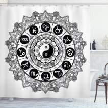 """Ambesonne Ying Yang Shower Curtain, Round Zodiac Theme Design with Yin Yang in Centre Astrology Signs Print, Cloth Fabric Bathroom Decor Set with Hooks, 70"""" Long, Black and White"""