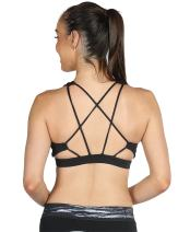 icyzone Sports Bra for Women - Workout Fitness Exercise Strappy Bras, Yoga Gym Tops