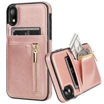 KIHUWEY iPhone Xr Case Wallet with Card Holder, iPhone Xr Case Slim Zipper Purse Wallet Case Leather Shockproof Protective Cover for iPhone Xr 6.1 Inch (Rose Gold)