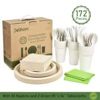 Eco Party Pack 172 Pcs Disposable Dinnerware Set 20 Guests Compostable Plates Eco Friendly Party Supplies Sugarcane and Cornstarch Cutlery Biodegradable Plates Cups Forks Napkins for Party Picnic