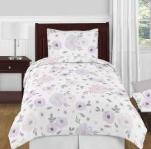 Sweet Jojo Designs Lavender Purple, Pink, Grey and White Shabby Chic Watercolor Floral Girl Twin Kid Childrens Bedding Comforter Set - 4 pieces - Rose Flower