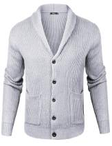 iClosam Mens Slim Fit Knitted Button Down Collar Cardigan Sweater with Ribbing Edge