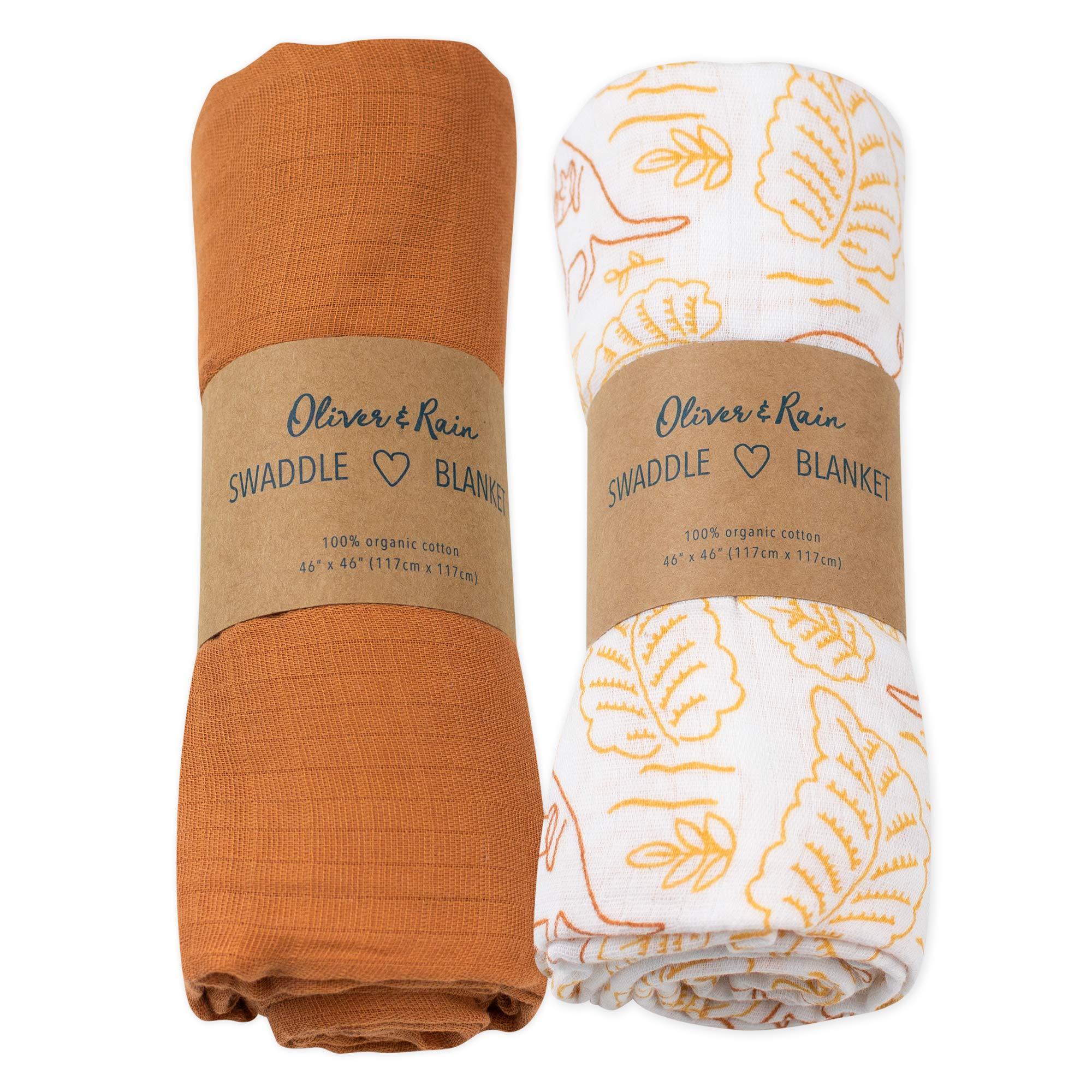 Oliver & Rain Girl Organic Muslin Swaddle Baby Blanket, Kangaroo Leaf Print and Solid Sunset Brown