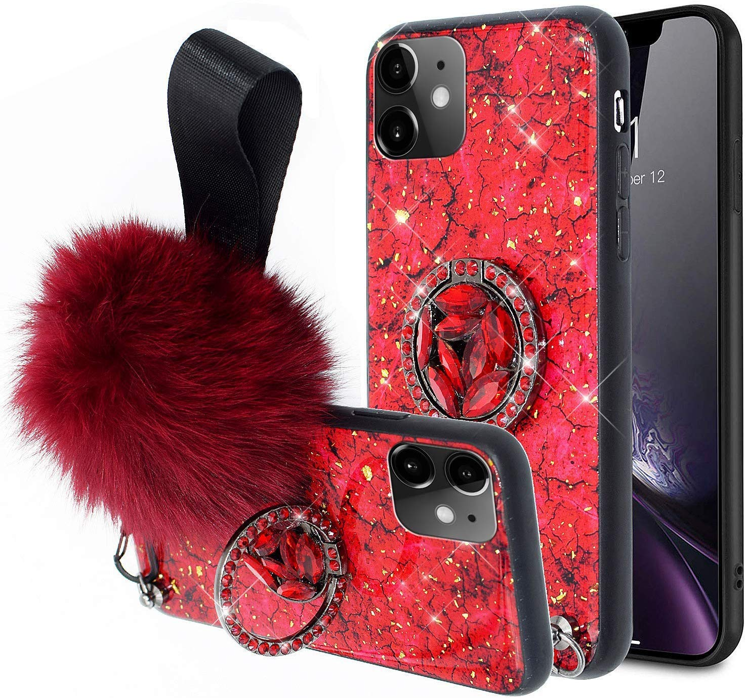 Aulzaju Cover for iPhone 11 6.1 Inch, iPhone 11 Luxury Shiny Cute Case with Ring Stand iPhone 11 Hard Back Raised Edge Marble Hybrid Cover with Soft Furry Ball Strap for Girl Women-Red