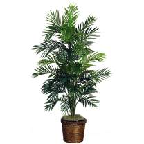 """Nearly Natural 5263-0308 56in. Areca Palm Silk Tree with Basket,Green,10"""" x 10"""" x 48"""""""