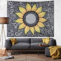 JUSPURBET Sunflower Tapestry Wall Hanging,Wall Tapestry for Bedroom,Yellow Tapestries Dorm Decor for Living Room,Window Curtain Picnic Mat,51x59 Inches