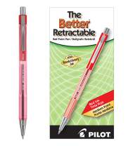 PILOT The Better Ball Point Pen Refillable & Retractable Ballpoint Pens, Medium Point, Red Ink, 12 Count (30007)