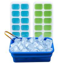 Ice Cube Tray Set: 2 Silicone Trays with Lids + Bin for Storage + Tongs + Recipes E-Book - BPA-Free | By Lebice …