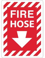 """ZING 2893A Zing Safety Sign, Fire Hose with Arrow, 14"""" Height x 10"""" Width, Recycled Aluminum, White on Red"""