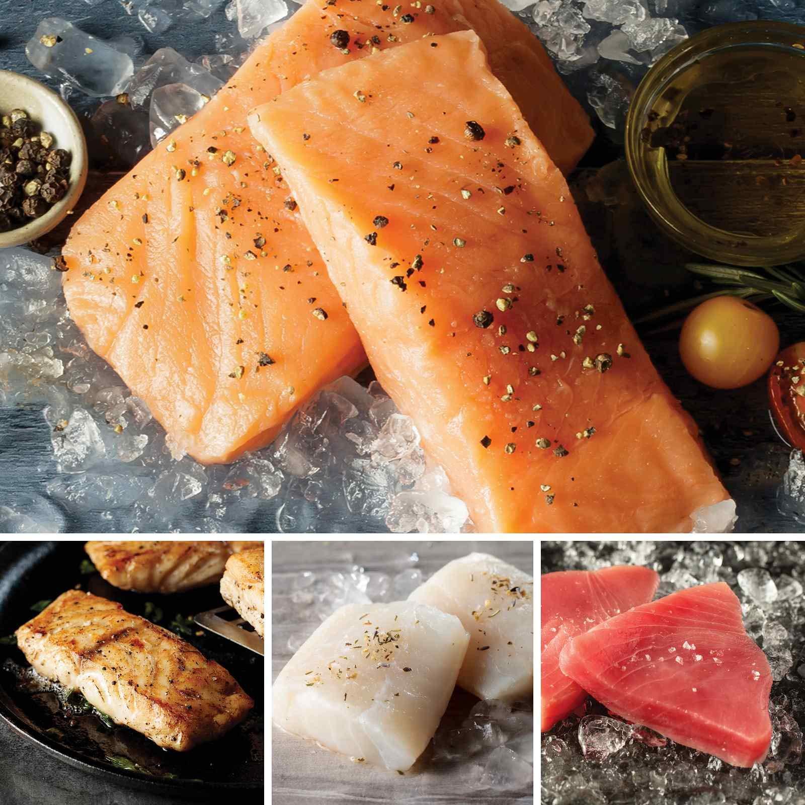 The Ocean's Bounty from Omaha Steaks (Faroe Islands Salmon Fillets, Wild Grouper Fillets, Icelandic Cod Fillets, and Yellowfin Tuna Steaks)