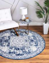 Unique Loom Bromley Collection Vintage Traditional Medallion Border Navy Blue Round Rug (5' 0 x 5' 0)