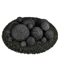 Ceramic Fire Balls | Mixed Set of 18 | Modern Accessory for Indoor and Outdoor Fire Pits or Fireplaces – Brushed Concrete Look | Midnight Black, Speckled