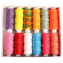 FANDOL Wax Coated Cords Polyester Leather Sewing Thread Wax-Coated Strings for Macrame, DIY Bracelets, Handcraft or Leather Projects (12 12 Bright Colors)