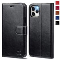 OCASE iPhone 11 Pro Case, Leather Wallet Flip Case with Card Holder Kickstand Magnetic Closure, TPU Shockproof Interior Protective Phone Cover Compatible for iPhone 11 Pro 5.8 inch 2019 (Black)
