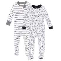 HonestBaby Baby 2-Pack Organic Cotton Snug-fit Footed Pajamas