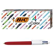 BIC 4-Color Shine Ballpoint Pen, Red Barrel, Medium Point (1.0mm), Assorted Inks, 3-Count