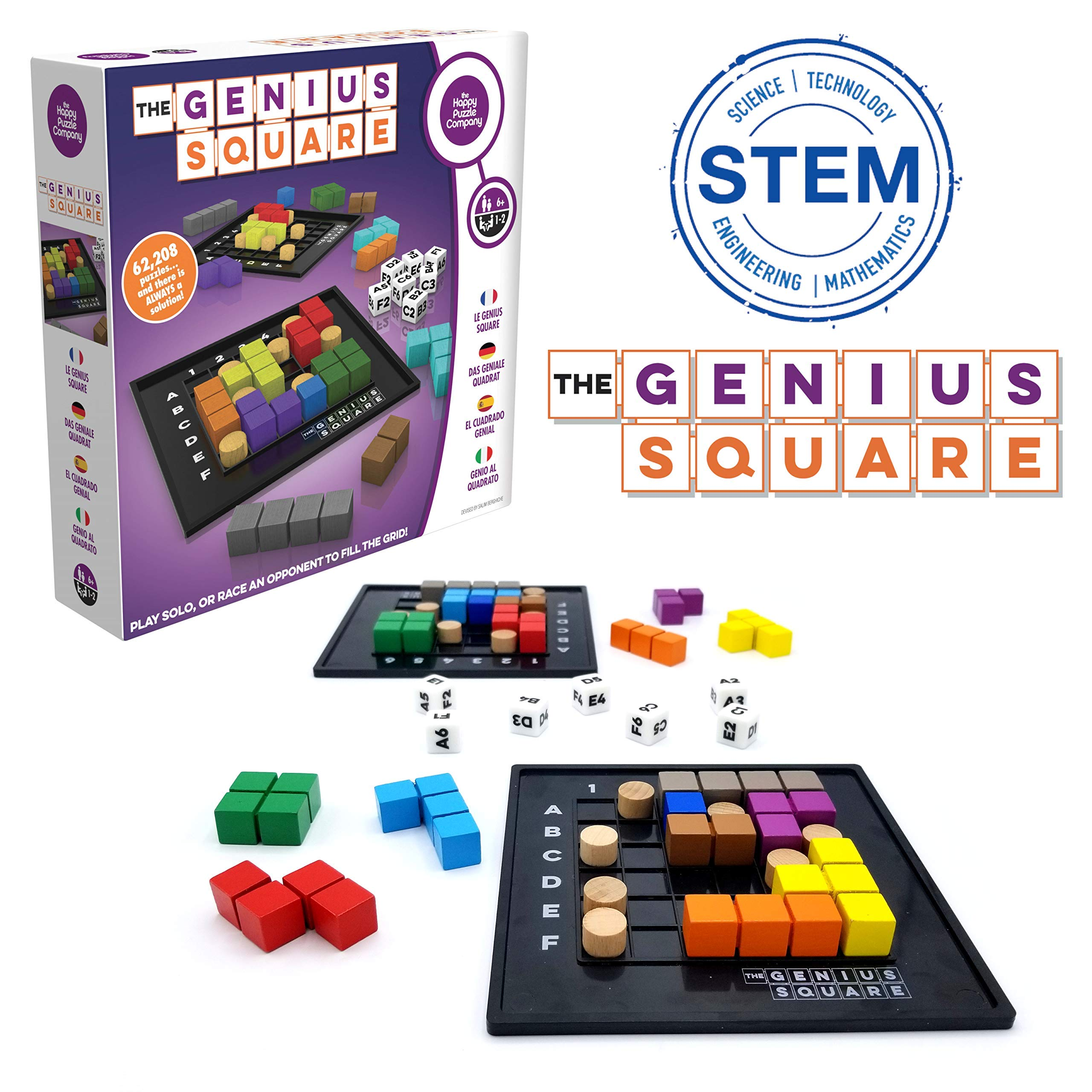 The Genius Square – Game of the Year Nominee! 60000+ Solutions STEM Puzzle Game! Roll the Dice & Race Your Opponent to Fill The Grid by Using Different Shapes! Promotes Problem Solving Training