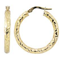 Kooljewelry 14k Gold 3x20 mm Diamond-cut Round Hoop Earrings (yellow gold or white gold)