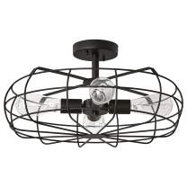 Amazon Brand – Stone & Beam Vintage Industrial Cage Flush Mount Ceiling Chandelier Fixture With 4 Light Bulbs - 18.5 x 18.5 x 9.3 Inches, Matte Black