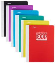 Mead Composition Book, Wide Ruled Comp Book, Writing Journal Notebook with Lined Paper, Home School Supplies for College Students & K-12, 70 Sheets, Plastic, Assorted Colors, 6 Pack (38974)