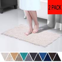 DEARTOWN TPR Non-Slip Bathroom Kitchenroom Rug (2 Pieces,20x32 Inches,White) Machine-Washable Shaggy Bath Mats