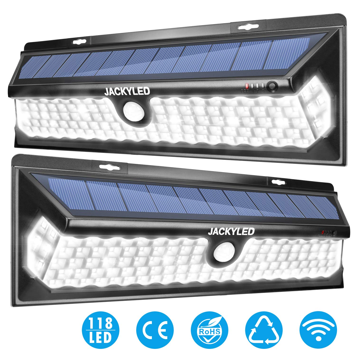 Super Bright 118 Led Solar Lights Outdoor Jackyled Solar Motion Sensor Lights Auto On Off With 3 Optional Modes Security Lighting For Garden Porch Step Stair Deck Dock Fence Backyard Gate 2 Pack