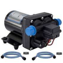 RecPro RV Water Pump | 12V Electric 4 Chamber Water Pump with Pressure and Bypass Switch | 45 PSI Max Draw 8.0AMP GPM/LPM 3.0/11.6 | Self Priming (No Strainer, with Silencer)