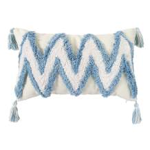 Hodeco Tufted Throw Pillow Cover 12x20 Decorative Handmade Woven Boho Cushion Cover for Couch Living Room Thick Cream Cotton Comfy Lumbar Pillowcase with Tassels, Blue White Geometric Design, 1 Piece