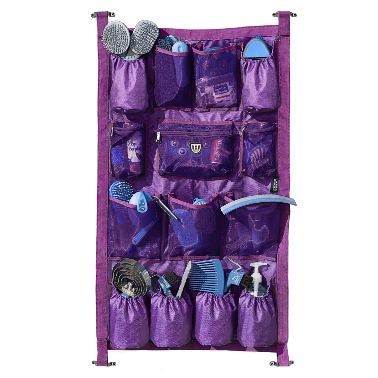 Harrison Howard Equine Long Trailer Door Caddy 1680D Durable Fabric with 14 Pockets Horse Trailer Door Caddy Grooming Bag Stall Organizer