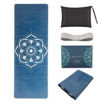 """SNΛKUGΛ Travel Yoga Mat Foldable, 1/16 Inch Thick Non Slip Yoga Mat Lightweight w/Carrying Bag, Eco Friendly Natural Rubber & Suede, Portable Fitness & Exercise Mat, 72"""" L x 26"""" W x 1.5mm"""
