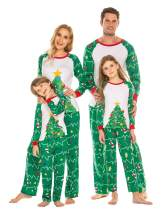 Ekouaer Matching Family Christmas Pajamas Set 2 Piece Sleepwear - Cotton Printed Long Sleeve for Parent-Child PJS