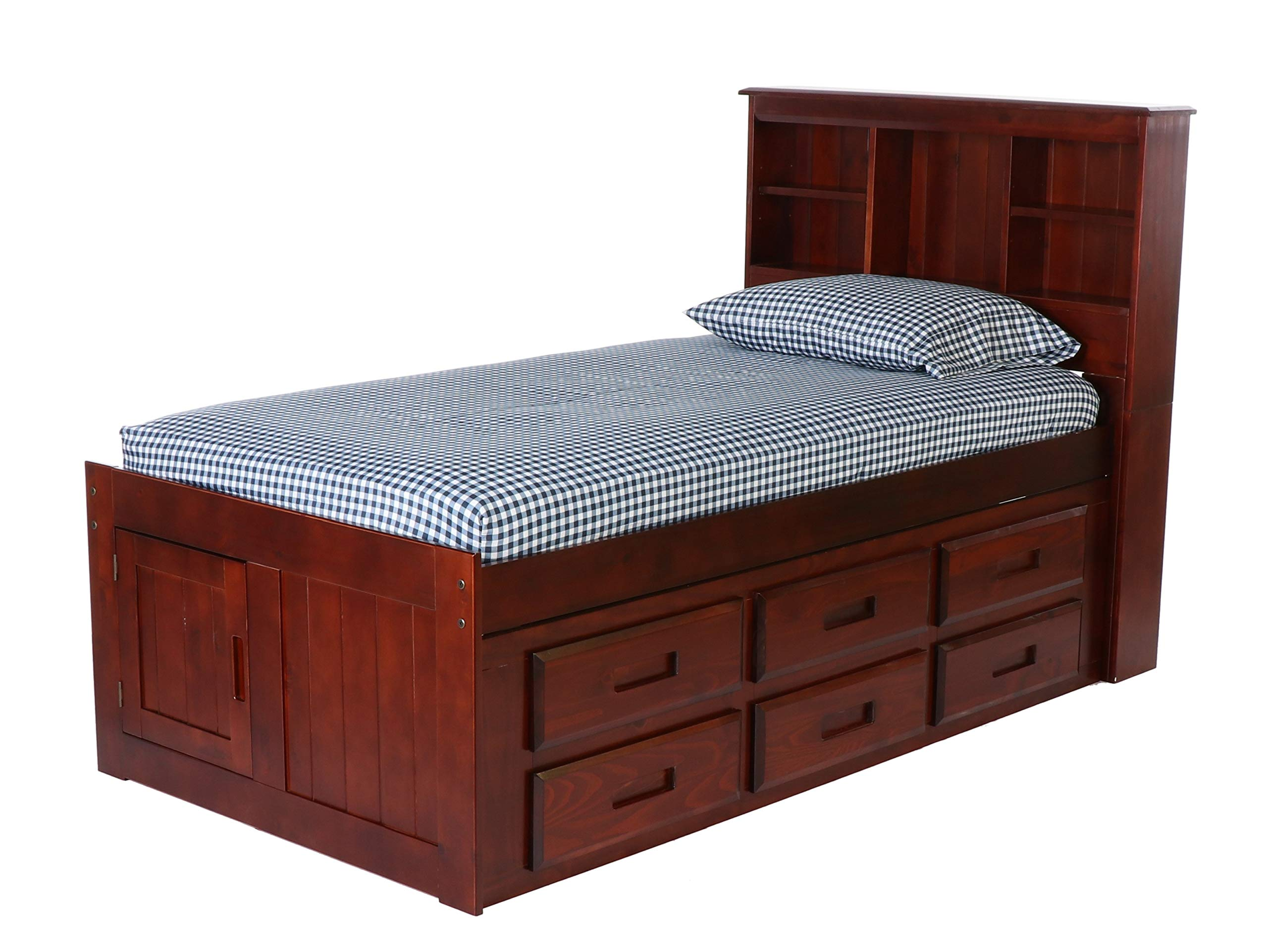 Discovery World Furniture Bookcase Captains Bed with 12 Drawers, Merlot, Twin