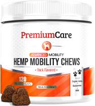 PREMIUM CARE Glucosamine for Dogs with Organic Hemp - Advanced Hemp Hip & Joint Supplement for Dogs - Supports Healthy Joint Function and Helps with Pain Relief - 120 Chews Made in USA