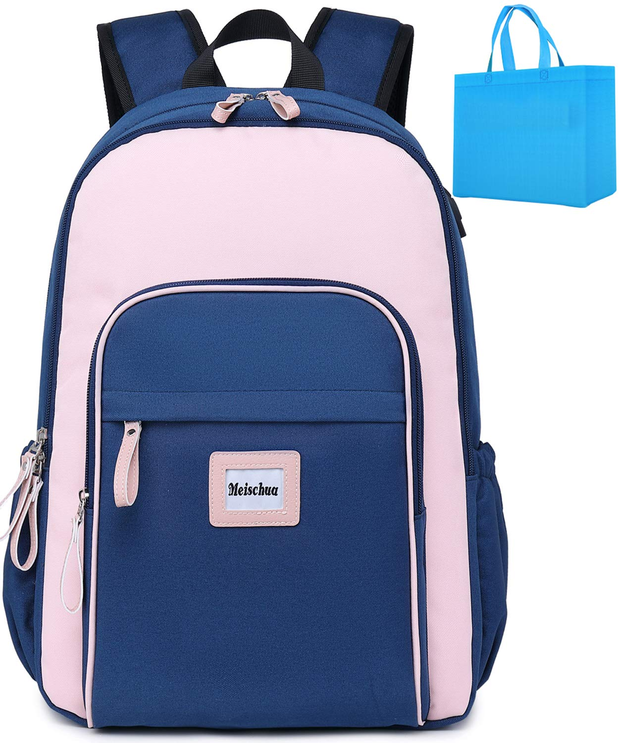 School Backpack Teen Girls Laptop Backpack for Women College Backpack with USB Charging Port Travel Backpack Casual Daypack Fits 15.6 inch Notebook Pink