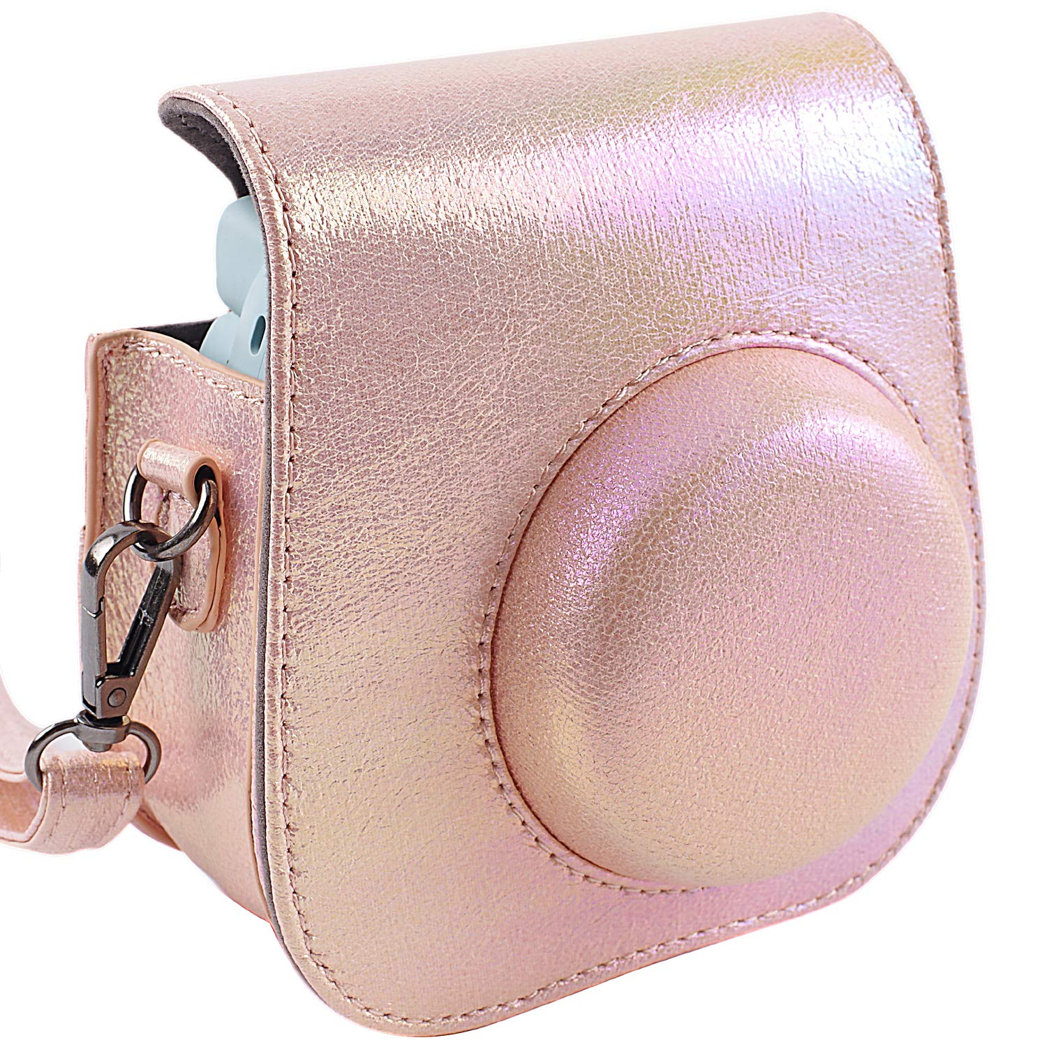 Protective & Portable Case Compatible with fujifilm instax Mini 11/9/ 8/8+ Instant Film Camera with Accessory Pocket and Adjustable Strap - Shining Pink by SAIKA