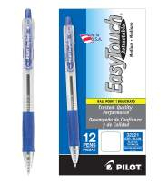 PILOT EasyTouch Refillable & Retractable Ballpoint Pens, Medium Point, Blue Ink, 12 Count (32221)