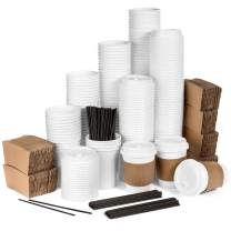 Average Joe Disposable Coffee Cups with Lids - 120 Pack - 12 Oz Paper Coffee Cups, Lids, Sleeves and Stirrers - White To Go Cups, White Lids, Blank Coffee Sleeves to Personalize - Keeps Coffee Hot