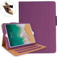 NEWQIANG iPad 5th 6th Generation Case with Hand Strap and Document Pocket - iPad 9.7 inch 2018 2017 Cover - Multi-Angle Stand, Auto Sleep Wake, Shockproof - A1822 A1823 MR7F2LL/A MR7F2LL/A(Purple)