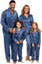 Alexander Del Rossa Matching Family Satin Pajama Set, Christmas Pjs for Men, Women, and Children