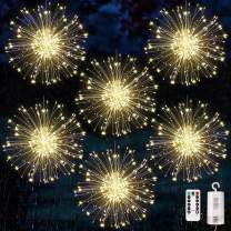 6 pack Firework Lights Copper Wire 120 Led Starburst Lights, Dimmable Battery Operated Hanging Lights with 8 Modes, Remote Control, Waterproof Fairy String Lights for Home, Patio, Christmas Decoration