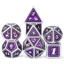 DNDND Metal Dice Set, 7 Pieces Polyhedral Dragon Scale Metallic Die with Velvet Pouch for Dungeons & Dragons D&D (Purple with Silver Edge)