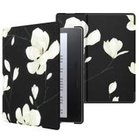 MoKo Case Fits All-New Kindle Oasis (9th and 10th Generation ONLY, 2017 and 2019 Release), Premium Ultra Lightweight Shell Cover with Auto Wake/Sleep - Black & White Magnolia