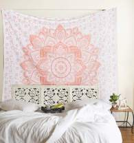 Madhu International Psychedelic Tapestry Wall Hanging - Boho Mandala Tapestry - Bohemian Wall Decor - Hippie Cotton Tapestries Ombre Gypsy Tapestry for All Rooms - Twin Size - 54x82 Inches, Rose Gold